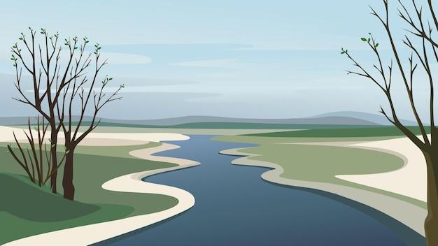 Fluss geht über horizont. schöne frühlingslandschaft.
