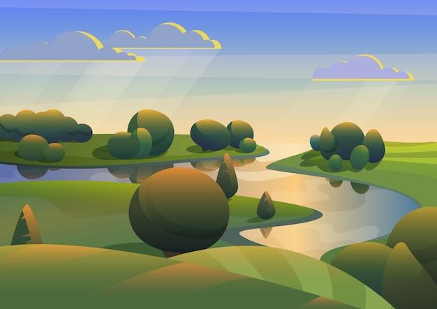 Fluss mit grüner wiesenhügellandschaft