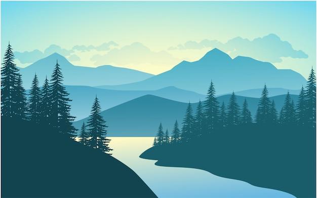 Fluss- und berglandschaft