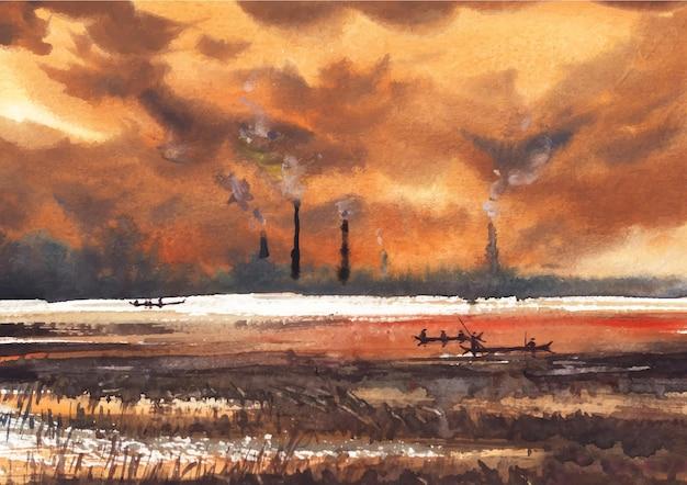 Fluss- und lebensaquarellmalerei mit schöner natur