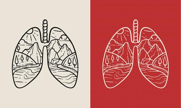 Flussblick mit lungenform monoline abzeichen