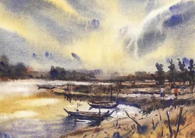 Flussboot und schöner himmel am abend von aquarell