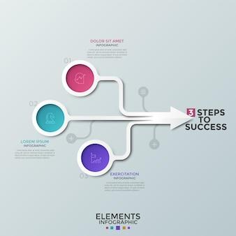 Flussdiagramm, bunte runde elemente mit linearen symbolen im inneren, die mit pfeilen verbunden sind, textfelder. konzept von 3 merkmalen des geschäftsfortschritts. kreative infografik-design-vorlage. vektor-illustration.
