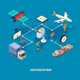Flussdiagramm der gps-routenkarte