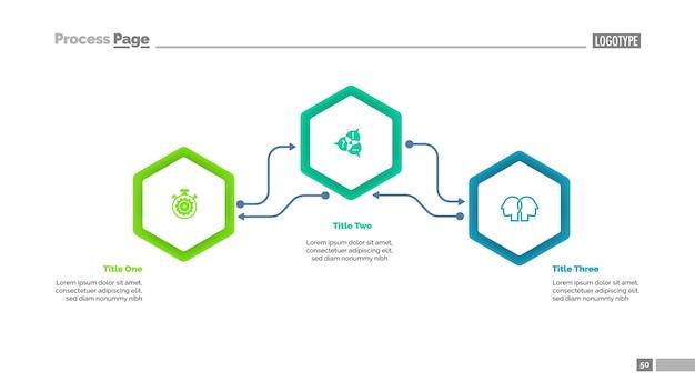 Flussdiagramm-dia-schablone mit drei elementen
