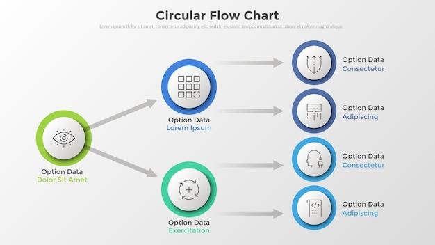 Flussdiagramm oder flussdiagramm mit kreisförmigen weißen elementen aus papier, die durch pfeile, dünne linienpiktogramme und platz für text verbunden sind. einzigartige infografik-design-vorlage. vektorillustration für die präsentation.