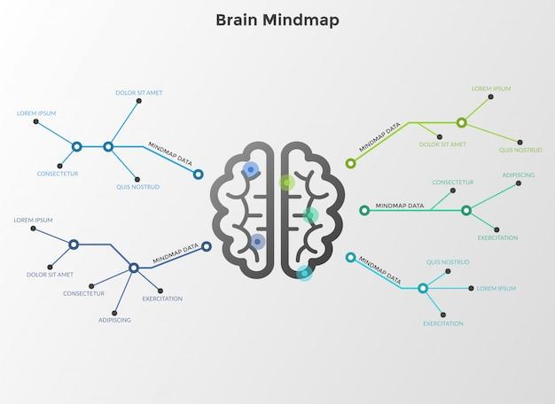 Flussdiagramm oder workflow-diagramm mit gehirn in der mitte, das durch linien mit textfeldern verbunden ist. konzept der mind map oder des schemas. moderne infografik designvorlage