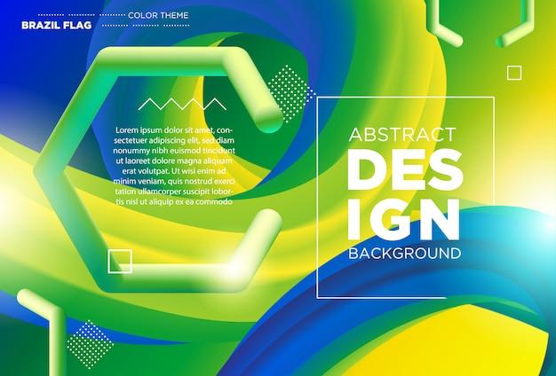 Flussform des modernen designs 3d. flüssige wellenhintergründe mit brasilien-flaggen-farbkonzept