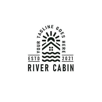 Flusskabinen-logo-emblem mit fluss-, kabinen- und sonnensymbol-vintage-vektorillustration