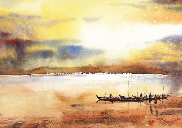 Flusslandschaft abendlicht aquarell auf papier
