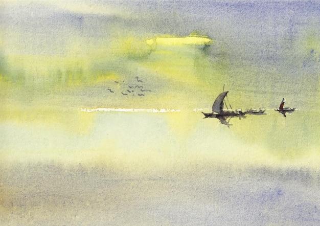 Flusslandschaft aquarellkunst und -design