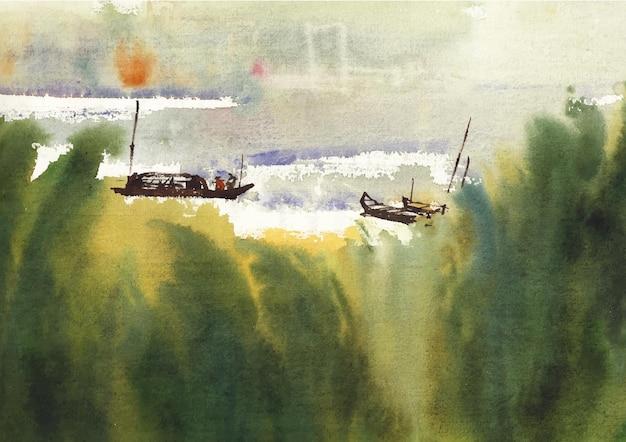 Flusslandschaft malerei aquarell kunst und design