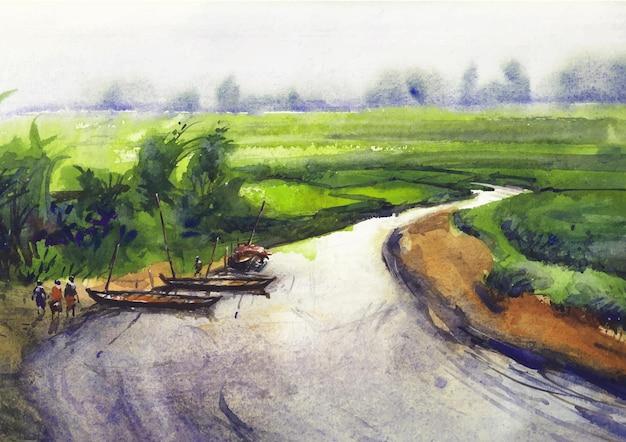 Flusslandschaft malerei kunst und design von aquarell