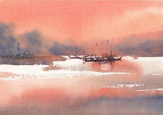 Flussseite landschaft aquarellkunst