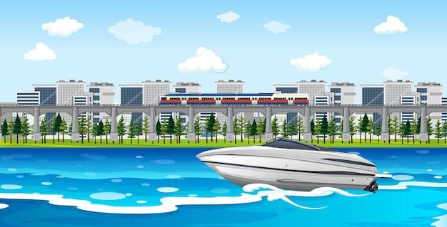 Flussstadtszene mit einem schnellboot