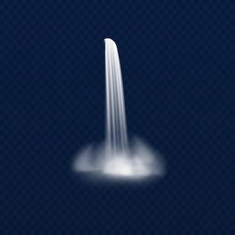 Flusswasser und kaskadenwasserstrom verschiedener form mit nebel. realistisches flüssiges spritzen und tropfen der hügelnatur.