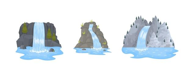 Flusswasserfall fällt von klippe auf weißem hintergrund. malerische touristenattraktion mit kleinem wasserfall und klarem wasser. karikaturlandschaften mit bergen und bäumen.