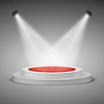Flutlichtbühne. beleuchtete festliche bühnenpodest-szene mit rotem teppich zur preisverleihung. illustration Premium Vektoren