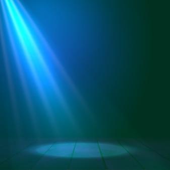Flutlichtscheinwerfer belichtet hölzernen szenenhintergrund