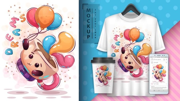 Fly cup airballon poster und merchandising