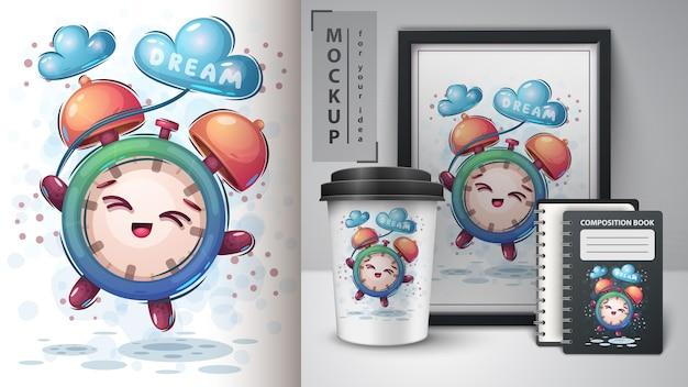 Fly dream clock poster und merchandising