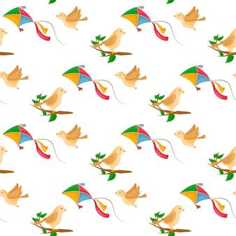 Fly kite nahtlose muster mit wind und niedlichen vögeln auf ast.