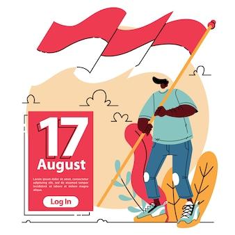 Fly the flag indonesischer unabhängigkeitstag