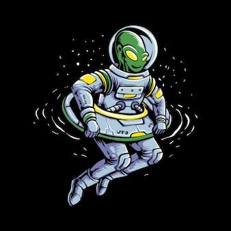 Fly ufo alien isoliert auf schwarz