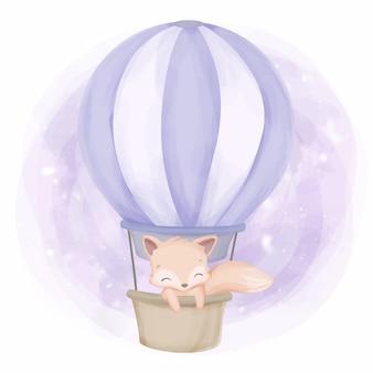 Fly up foxy mit einem luftballon