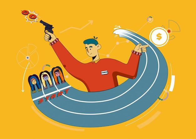Flyer coaching marathon zum erreichen des ziels cartoon