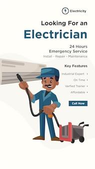 Flyer-design der suche nach einem elektriker mit elektriker-reinigungs-ac mit einem staubsauger