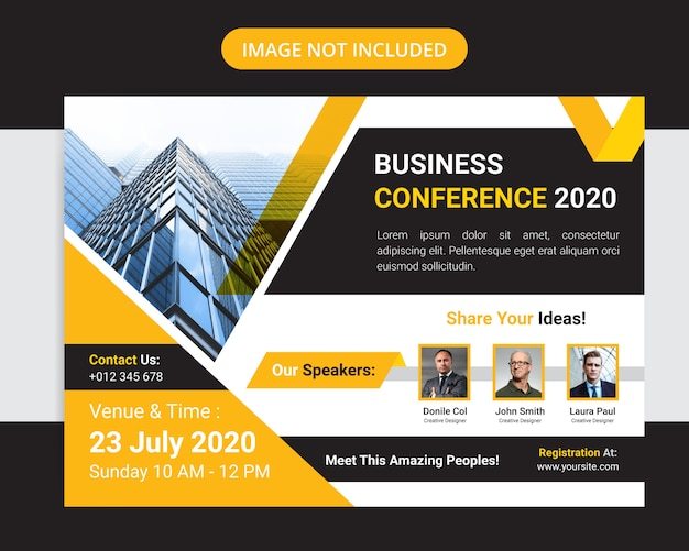 Flyer-design für horizontale unternehmenskonferenzen