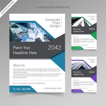 Flyer design mit 3 farben zur auswahl, organisierte schicht