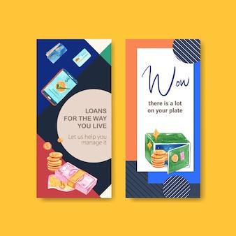 Flyer-design mit finanz-, geschäfts-, währungs- und bankaquarellillustration.
