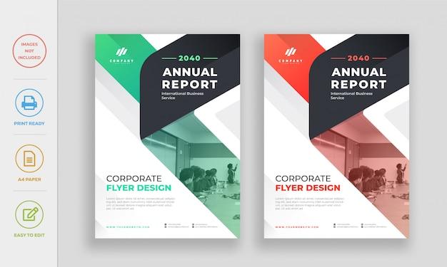 Flyer-designvorlage des modernen firmenunternehmensjahresberichts