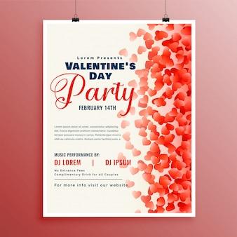 Flyer designvorlage für den valentinstag