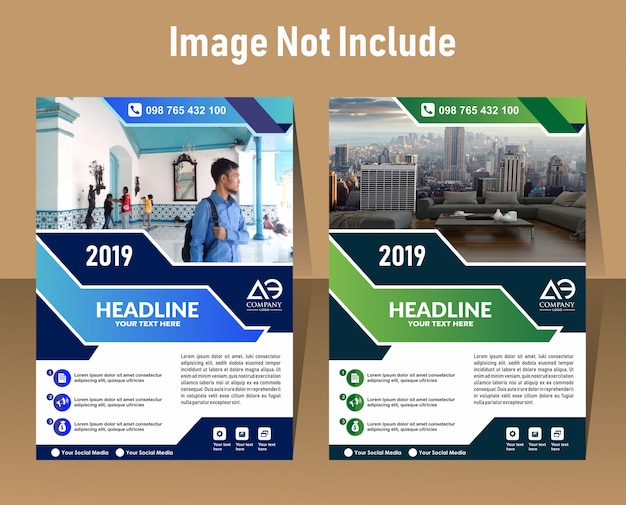 Flyer-druckvorlage für a4-format mit geometrischem design