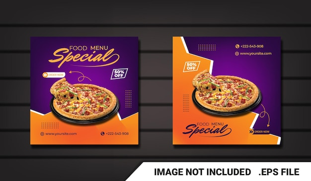 Flyer food social media-werbung und instagram-banner-post