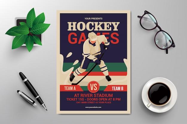 Flyer für hockeyspiele