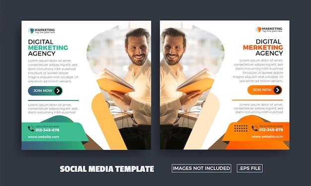 Flyer für social media-vorlagen der agentur für digitales marketing