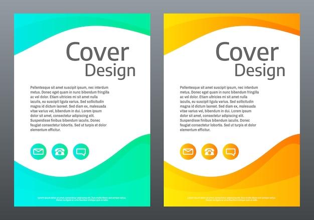 Flyer. helle gradientenwellen auf weißem hintergrund. cover vorlage mit farblinien. kreative komposition. trendige illustration.