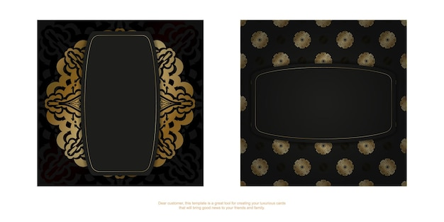Flyer in dunkler farbe mit goldenem luxusornament