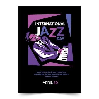 Flyer in flachem design für den internationalen jazz-tag