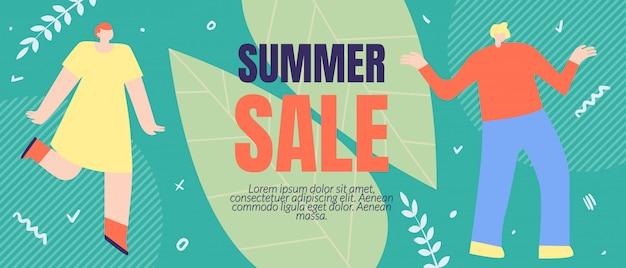 Flyer inschrift summer sale banner vorlage, cartoon wohnung.