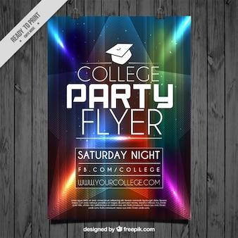 Flyer mit bunten Lichtern für College-Party