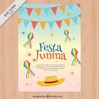 Flyer mit festa junina dekoration