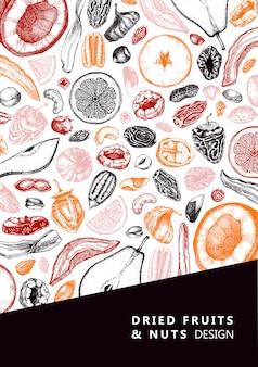 Flyer mit getrockneten früchten und nüssen. hand gezeichnete skizzen von dehydrierten früchten. vintage nüsse illustrationen. für veganes essen, snacks, gesundes frühstück, müsli, backen, desserts. gravierte kartenvorlage