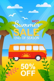 Flyer mit hot summer travel sale zum saisonende