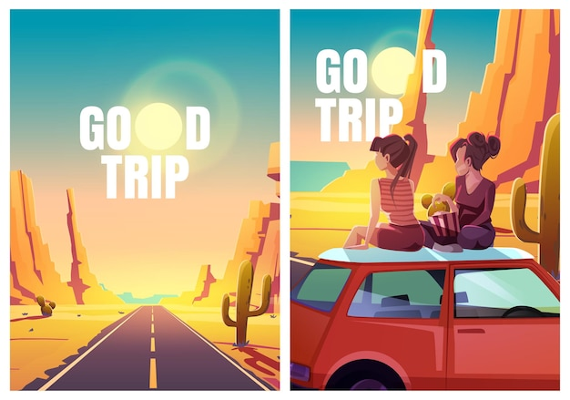 Flyer mit mädchen, die in der wüste auf autodach sitzen