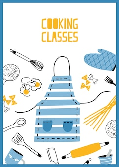 Flyer oder poster vorlage mit küchenutensilien, werkzeugen und geräten für die zubereitung von mahlzeiten. farbige illustration im flachen stil für kochschule, klassen- oder unterrichtswerbung, promo.